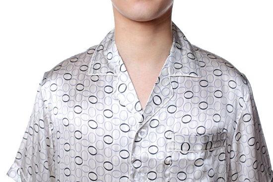 半袖メンズシルクパジャマ リング柄 白色 ホワイト 絹100% 紳士【送料無料】父の日 敬老の日 プレゼント ギフト【smtb-KD】【楽ギフ_包装選択】あす楽対応