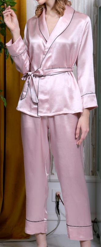 シルク100%レディースガウン&パンツのセット【無地】ピンク 絹100% 【送料無料】母の日 敬老の日 プレゼント ギフト【smtb-KD】【楽ギフ_包装選択】あす楽対応