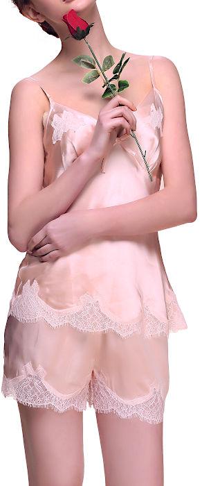 シルク100%キャミ&パンツ ベージュ【レース】 絹100% ll【楽ギフ_包装選択】あす楽対応