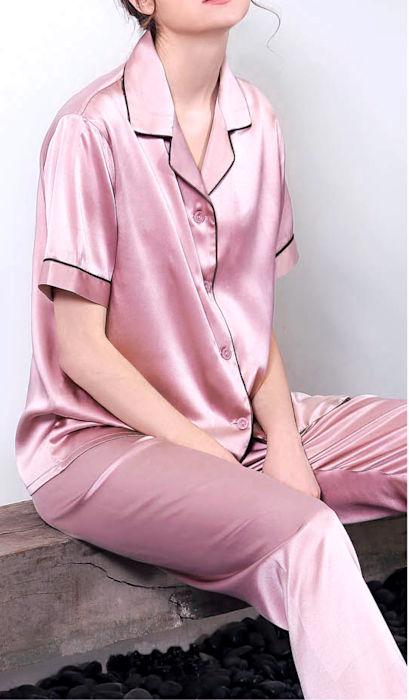 19匁シルク100%パジャマ 半袖(ピンク)【無地】 絹100% レディース ll【送料無料】母の日 敬老の日 プレゼント ギフト【smtb-KD】【楽ギフ_包装選択】あす楽対応紳士用と合わせてペアパジャマに