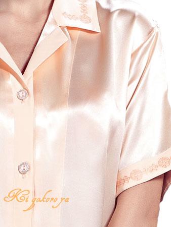 シルク100%パジャマ 半袖レディース 絹100% ベージュ【無地&襟刺繍】絹【送料無料】母の日 敬老の日 プレゼント ギフト【smtb-KD】【楽ギフ_包装選択】あす楽対応