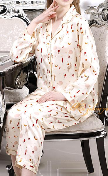 シルク100%パジャマ レディース 長袖 夜空柄 アイボリー サテン ルームウェアll【送料無料】母の日 敬老の日 プレゼント ギフト【smtb-KD】【楽ギフ_包装選択】あす楽対応
