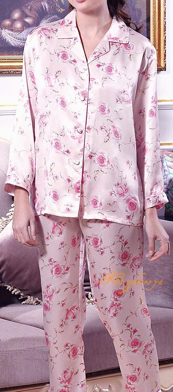 シルク100%パジャマ レディース 長袖 バラの花柄(長袖/ピンク) サテン ルームウェアll【送料無料】【smtb-KD】あす楽対応