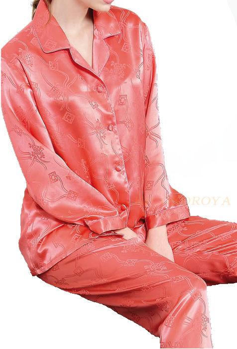 シルク100%パジャマ 長袖レディース 長袖 細風柄 バーミリオン サテン ルームウェアll【送料無料】母の日 敬老の日 プレゼント ギフト【smtb-KD】あす楽対応