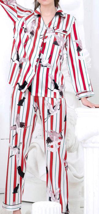 シルク100%パジャマ 長袖レディース 長袖 鶴とクロ猫柄 赤色レッド サテン ルームウェアll【送料無料】母の日 敬老の日 プレゼント ギフト【smtb-KD】あす楽対応