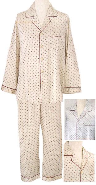 アウトレット 灰色のみ 19匁高級シルク100%パジャマ 長袖【花紋章柄】% メンズ/紳士【送料無料】