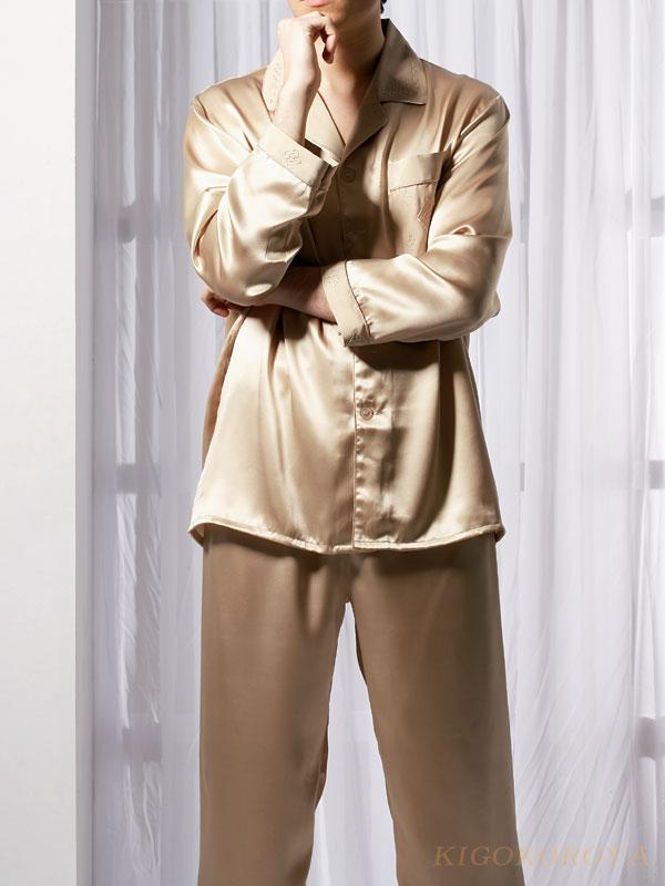 シルクパジャマ 長袖【雷文柄 金色 灰色】絹100% メンズ/紳士 ルームウェアーll【送料無料】父の日 敬老の日 プレゼント ギフト【smtb-KD】【楽ギフ_包装選択】あす楽対応