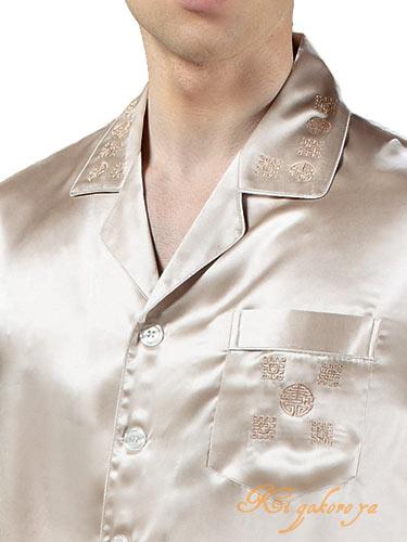アウトレット Lのみ シルクパジャマ メンズ 長袖 アイボリー【無地&中華刺繍】【送料無料】あす楽対応