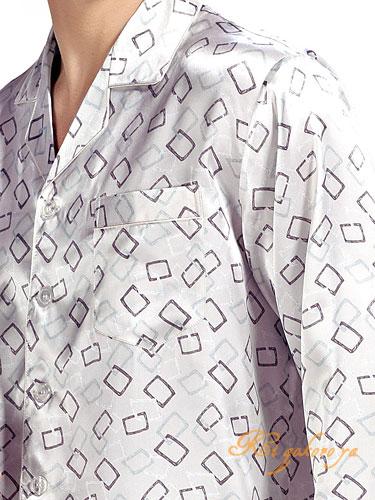 シルク100%パジャマ メンズ 長袖 オフホワイト【スクエアー柄】【送料無料】父の日 敬老の日 プレゼント ギフト【smtb-KD】【楽ギフ_包装選択】あす楽対応
