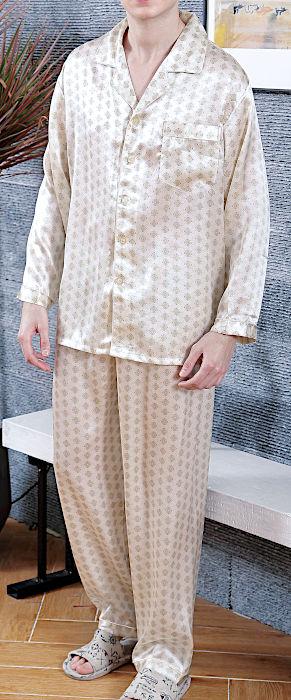シルクパジャマ メンズ 長袖 シルク100% 四角柄 ベージュ【送料無料】父の日 敬老の日 プレゼント ギフト【smtb-KD】あす楽対応