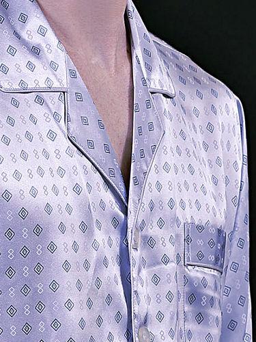 シルクパジャマ メンズ 長袖 シルク100% 四角柄 ライトパープル 紫色【送料無料】父の日 敬老の日 プレゼント ギフト【smtb-KD】あす楽対応
