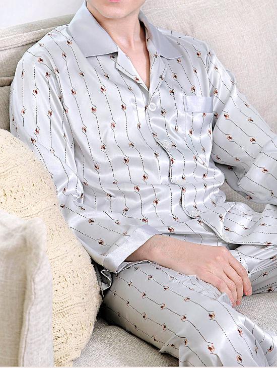 シルクパジャマ メンズ 長袖 シルク100% オームガイ柄 灰色グレー【送料無料】父の日 敬老の日 プレゼント ギフト【smtb-KD】あす楽対応