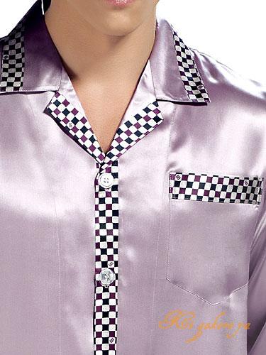 シルク100%パジャマ メンズ 長袖 紫色【襟チェック柄】【送料無料】父の日 敬老の日 プレゼント ギフト【smtb-KD】【楽ギフ_包装選択】あす楽対応