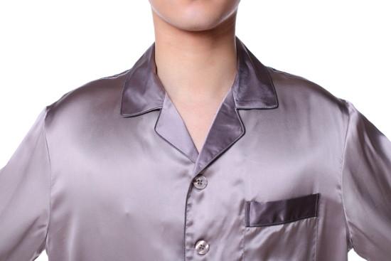シルクパジャマ メンズ 長袖 シルク100% 無地 青紫色パープル XXL【送料無料】父の日 敬老の日 プレゼント ギフト【smtb-KD】あす楽対応