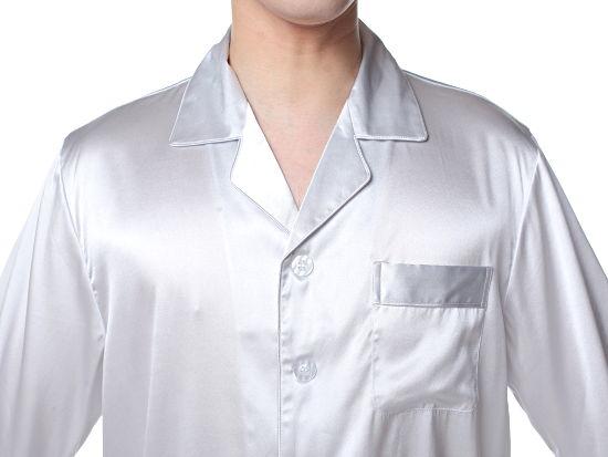 シルクパジャマ メンズ 長袖 19匁シルク100% 無地 灰色グレー【送料無料】父の日 敬老の日 プレゼント ギフト【smtb-KD】あす楽対応