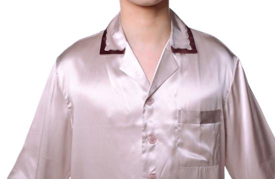 シルクパジャマ メンズ 長袖 19匁シルク100% 無地 灰色グレー XXL【送料無料】父の日 敬老の日 プレゼント ギフト【smtb-KD】あす楽対応