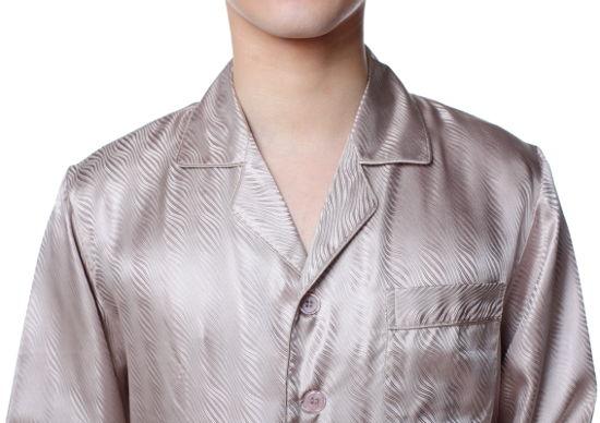 シルクパジャマ メンズ 長袖 シルク100% 波ライン ブラウン茶色【送料無料】父の日 敬老の日 プレゼント ギフト【smtb-KD】あす楽対応