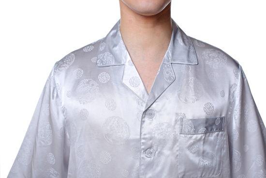 シルクパジャマ メンズ 長袖 シルク100%龍・中華模様 グレー 灰色【送料無料】父の日 敬老の日 プレゼント ギフト【smtb-KD】あす楽対応