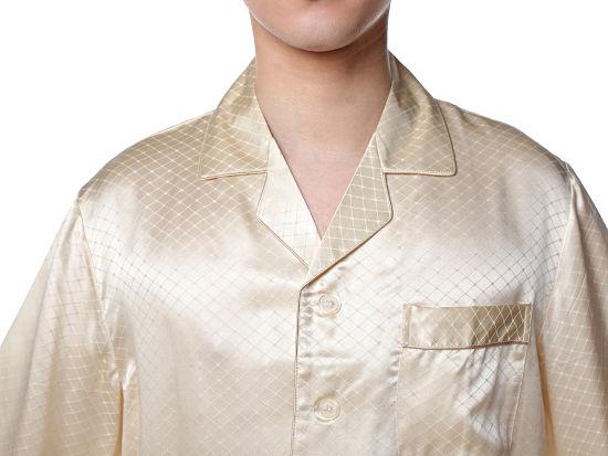 シルクパジャマ メンズ 長袖 シルク100% チェック ベージュ【送料無料】父の日 敬老の日 プレゼント ギフト【smtb-KD】あす楽対応