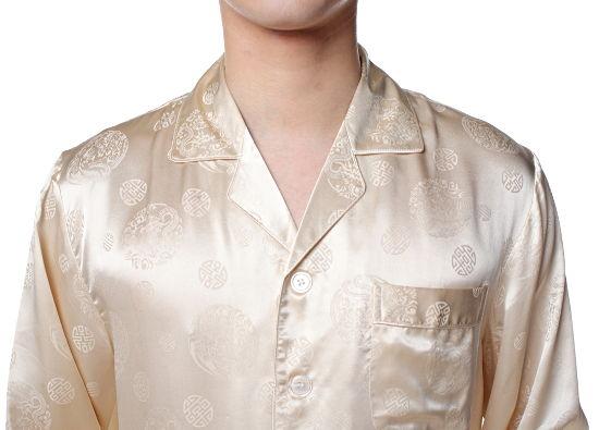 シルクパジャマ メンズ 長袖 シルク100% 龍・中華模様 ベージュ【送料無料】父の日 敬老の日 プレゼント ギフト【smtb-KD】あす楽対応