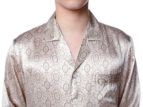 通信販売 シルク100%パジャマ メンズ 長袖 オシャレ ベージュ シルクパジャマ シルク100% 送料無料 smtb-KD デポー ギフト あす楽対応 敬老の日 プレゼント 父の日