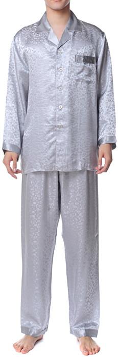 シルクパジャマ メンズ 長袖 19匁シルク100% アニマル柄 灰色グレー【送料無料】父の日 敬老の日 プレゼント ギフト【smtb-KD】あす楽対応
