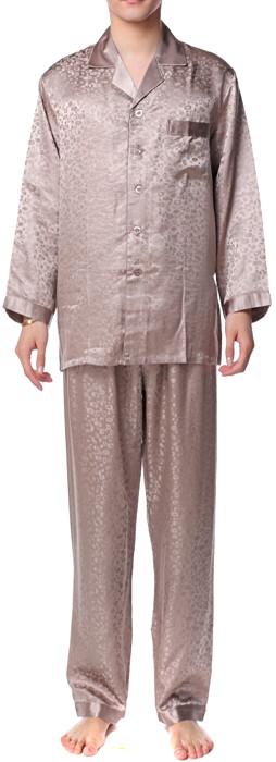 シルクパジャマ メンズ 長袖 19匁シルク100% アニマル柄 茶色ブラウン【送料無料】父の日 敬老の日 プレゼント ギフト【smtb-KD】あす楽対応