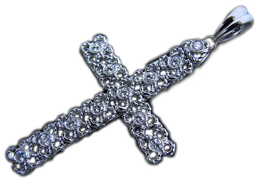 華やか!上質天然ダイヤモンド × ロープ 模様 の 四葉 ★ スカシ デザイン 18金 ホワイトゴールド K18WG 十字架 クロス ペンダント トップ
