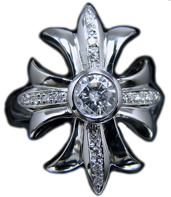 ゴージャス!プラチナ(Pt900)天然ダイヤモンド 計0.716ct 十字架 クロス cross 手作り メンズ リング(中石0.618ct/G/I1/F 簡易鑑定付き & 脇石0.098ct) 19.0号(サイズ直し無料でします)