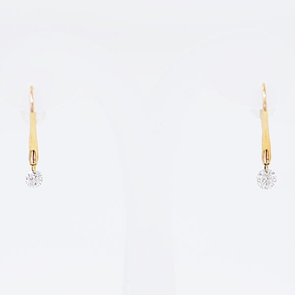 揺れるダイヤ0.15ct ゴールドピアス K18