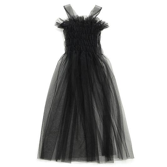 UNIONINI ユニオニーニ tulle shirring long dress ブラック ワンピース ブラウス ユニセックス ベビー キッズ 子供服 レディース