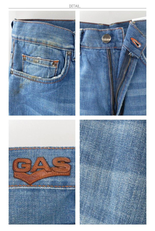 ♦ GAS men ♦ used processed Orange stetchstraightjeans pants gas-m-p-38-623