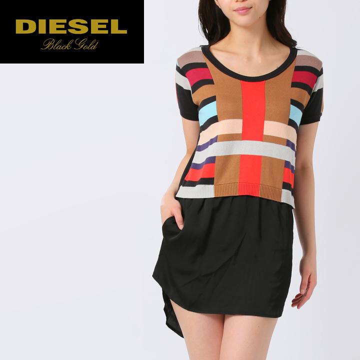 14445562049 ☆DIESEL BLACK GOLD diesel black gold Lady s ☆ short sleeves multicolored  knit ribbon change tunic die-l-t-64-465    maker hope retail price 44