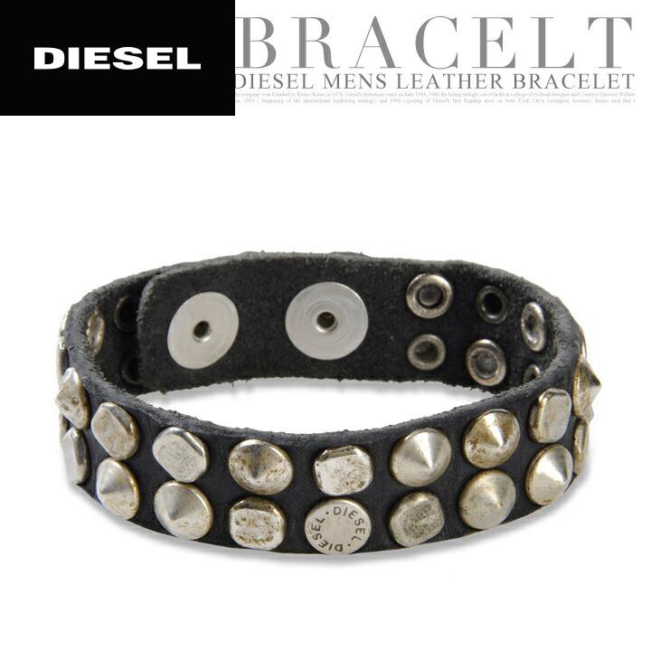 443face470225 ♦ DIESEL diesel mens ♦ vintage processing total studded leather leather  leather bracelet Diya-m-a-64-082