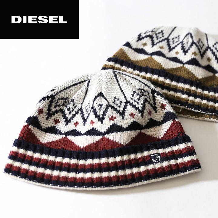 f6cf6395fb9 DIESEL diesel mens ♢ wool scarf pattern knit caps knitting Hat Beanie Cap  Hat die-m-a-68-140