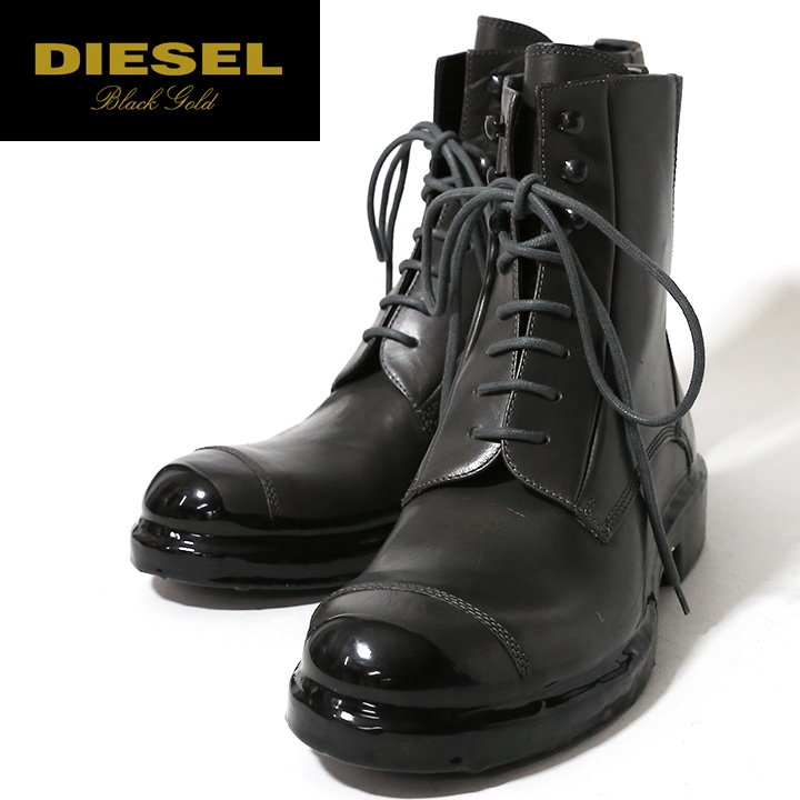 9080e3eb □DIESEL BLACK GOLD diesel black gold men □ genuine leather leather race up ankle  boots ...