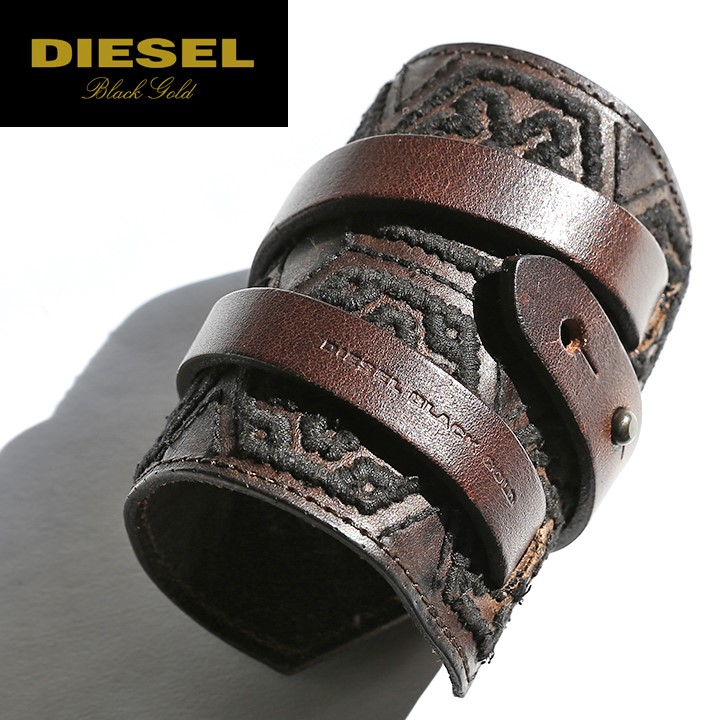 Sel Black Gold Man And Woman Combined Use Cowhide Genuine Leather Embroidery Wide Bracelet Bangle