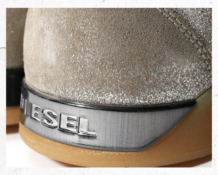 ■DIESEL柴油人■牛皮书皮革皮革反毛皮皮革银子箔金色金属线高cut运动鞋鞋die-m-k-80-117