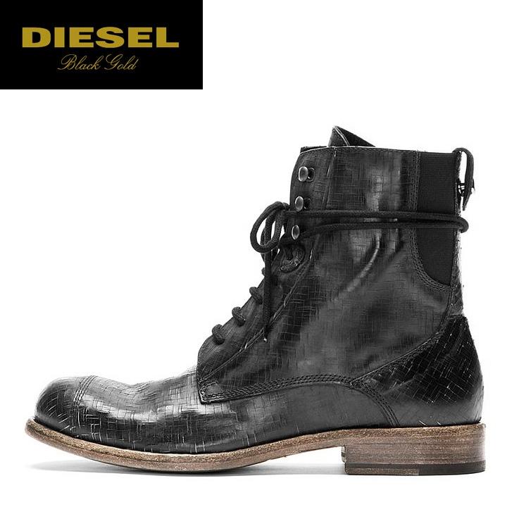 57723dbcafc ■DIESEL BLACK GOLD diesel black gold men ■ genuine leather leather vintage  processing race up engineer boots shoes die-m-k-80-006
