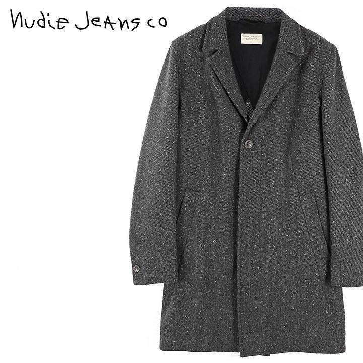 ■Nudie Jeans ヌーディージーンズ メンズ■ウール混 ネップ ツイード 比翼仕立て チェスターコート【LEON COAT/RECYCLED WOOL】【サイズXS~L】【グレー】ndj-m-o-83-695 《メーカー希望小売価格70,400円》