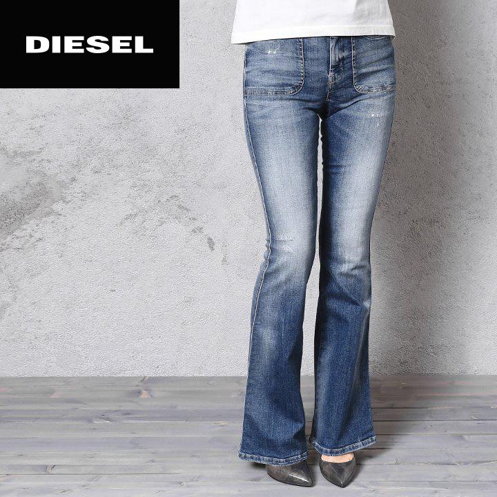80eebf83 ☆DIESEL diesel Lady's ☆ ユーズドダメージ processing stretch regular slim bootcut  jeans denim underwear die ...