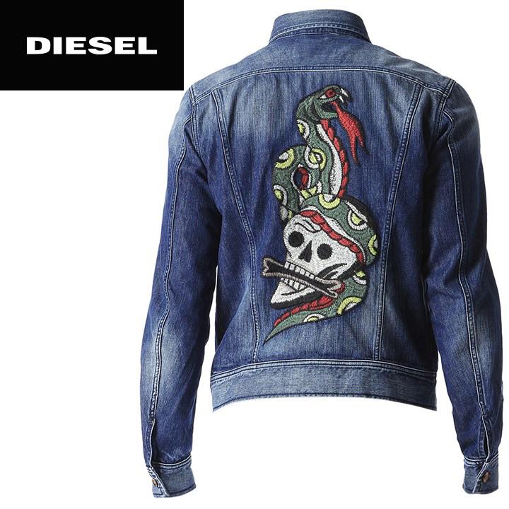 classic price reduced coupon codes ■DIESEL diesel men ■ scull python embroidery decoration vintage damage  crash processing G Jean denim jacket die-m-o-94-191 << maker hope retail  price ...