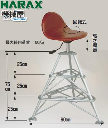 高さ調節付回転イスセット FL-75-3K■ハラックス フミラック 作業用いす 椅子 代引不可