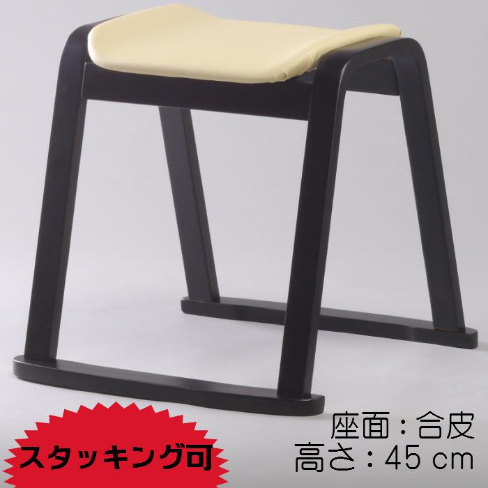 スツール(合皮)アイボリー 椅子 イス 生成 クッション レザー スタッキング 木製