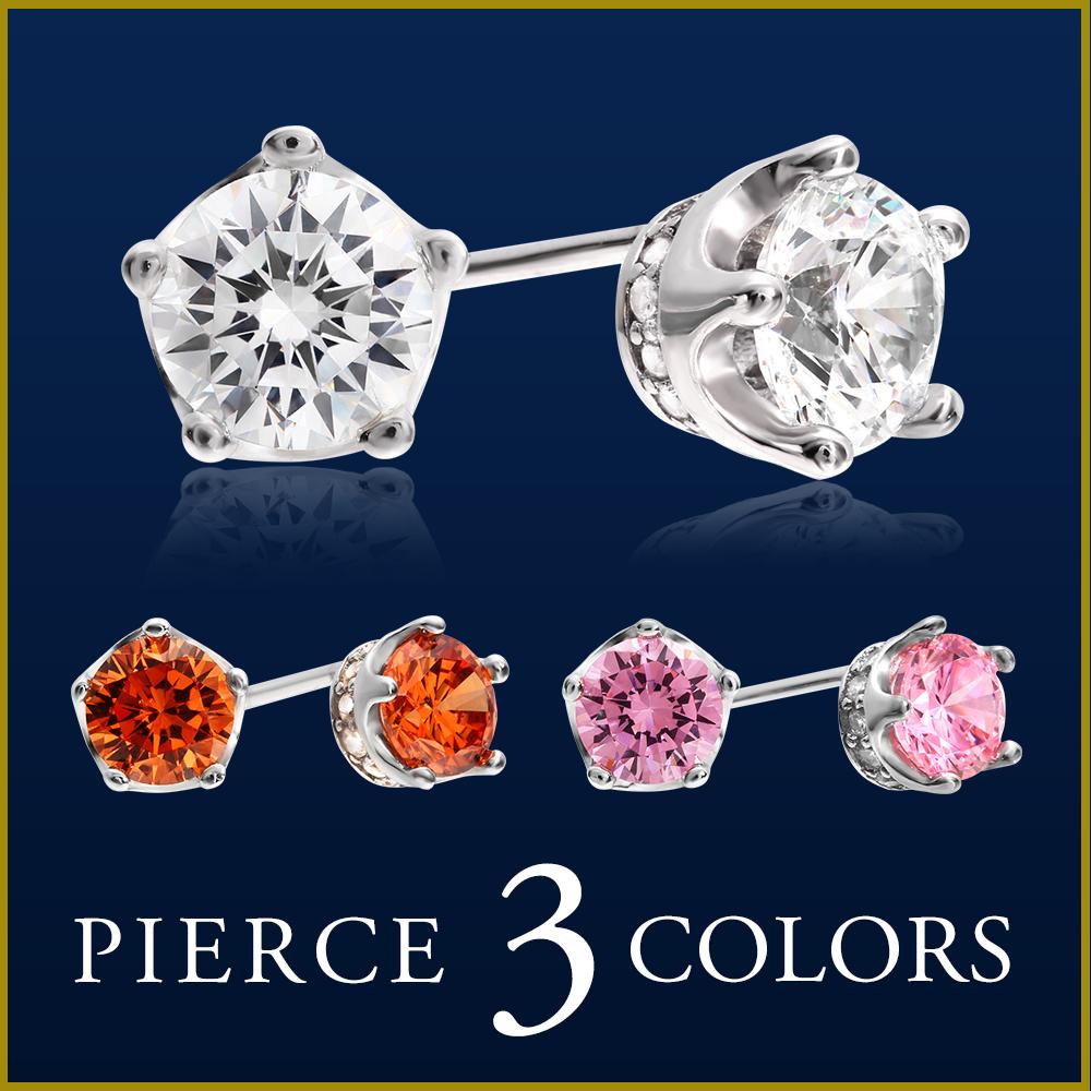 Luxurious 2 Size 3 Color Lady S One Pierced Earrings High Quality Cz Diamond Wife She Birthday