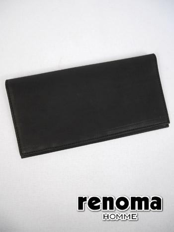 ▼二つ折り長財布〔シンプル〕クロ(BLK) 【18.5×9cm:メンズ】renoma HOMME レノマ サイフ メンズ【新作モデル】