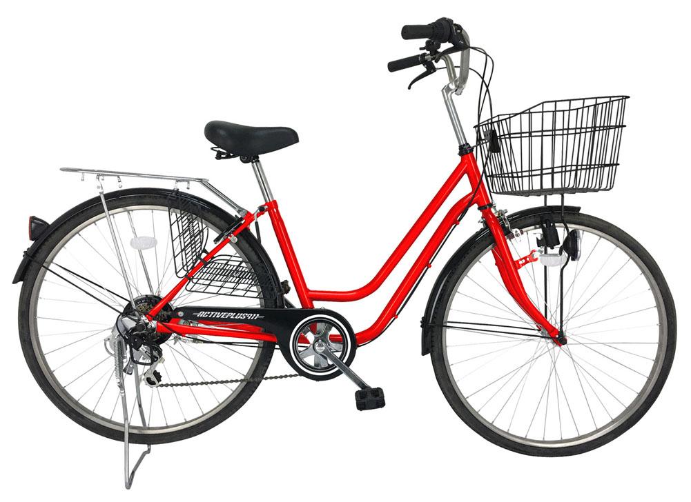ACTIVEPLUS911 ノーパンク軽快車266SF 26インチ軽快車 6段ギア 自転車 かご有り パンクしないタイヤ 365 ミムゴ シティサイクル おすすめ