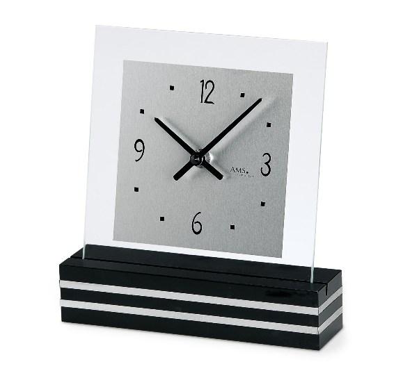 【AMS】【ドイツ製】【アームス】 1107 スタイリッシュで見やすい クォーツ式置き時計 アルミニウム・ガラス・ウッドコンビ アナログ[送料無料]【成人式 お祝い】【父の日】【クリスマス】
