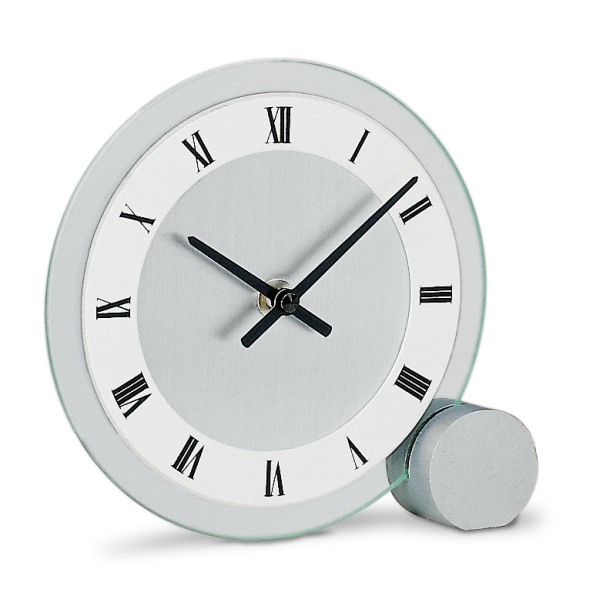 【AMS】【ドイツ製】【アームス】166 サークルデザイン クォーツ式置き時計 ガラス・アルミコンビ アナログ[送料無料]【成人式 お祝い】【父の日】【クリスマス】