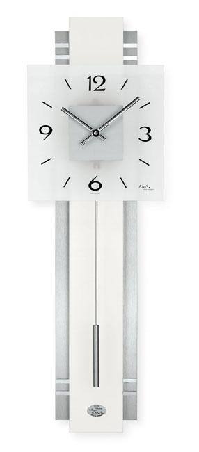 【AMS】【ドイツ製】【アームス】スクエア型 インテリア柱時計/クォーツ式振り子掛け時計/7302/銀シルバー/アナログ[送料無料]【成人式 お祝い】【父の日】【クリスマス】